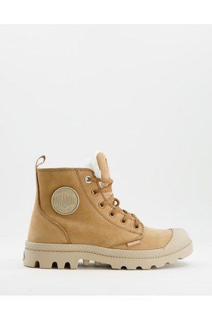 Palladium Pampa Hi Zip sneakers with warm lining in brown nubuck leather