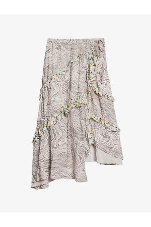 Ted Baker Crosbyy floral and marble-print woven crepe skirt