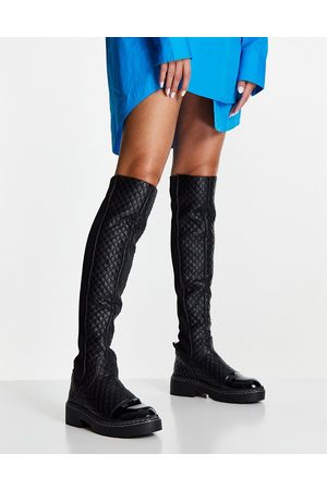 River Island Quilted over the knee flat gusset boots in