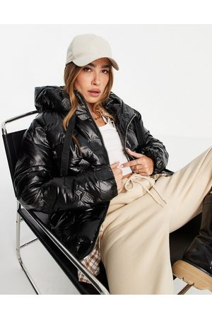River Island Glam embossed padded jacket in