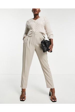 River Island Tailored pleated pants in beige-Neutral