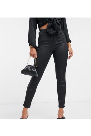 ASOS ASOS DESIGN Petite high rise 'lift and contour' skinny jeans in coated
