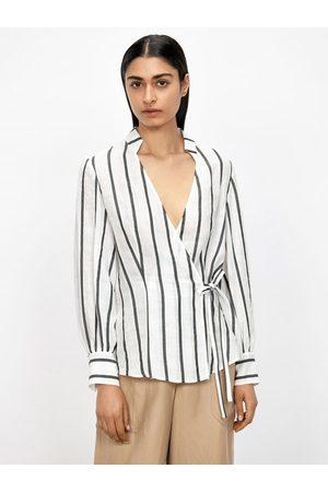 Veronika Maine Ramie Stripe Wrap Blouse