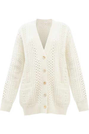 Chloé Cabled Wool-blend Longline Cardigan - Womens - Cream