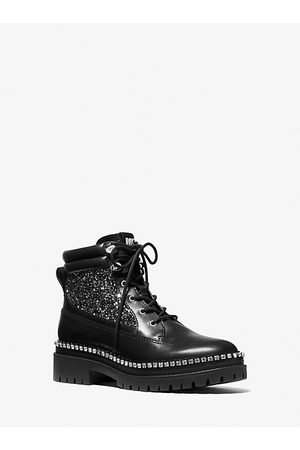 Michael Kors Women Ankle Boots - MK Turner Embellished Leather and Glitter Boot - - Michael Kors