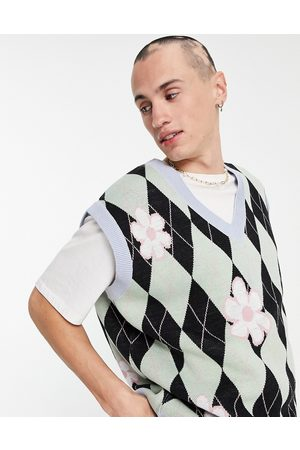 ASOS Knitted argyle tank with floral pattern