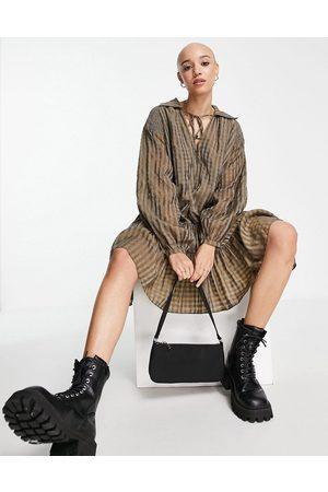 Glamorous Mini shirt dress in olive metallic gingham-Multi