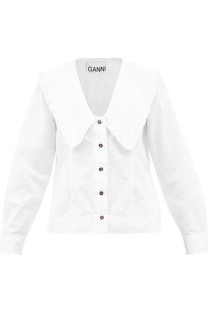Ganni Chelsea-collar Organic-cotton Poplin Shirt - Womens