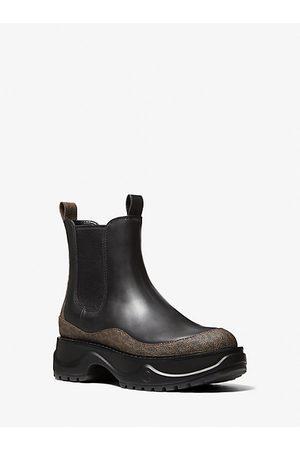 Michael Kors Mkgo MK Dupree Logo and Leather Boot - - Michael Kors