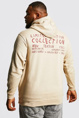 Boohoo Men Hoodies - Mens Sand Plus Limited Edition Front And Back Hoodie