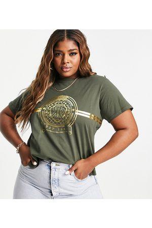 River Island RR graphic button shoulder t-shirt in khaki-Green