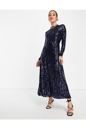 Whistles Long sleeve maxi dress in all over blue and silver sequins