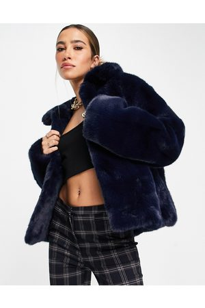 Whistles Cropped faux fur jacket with collar in