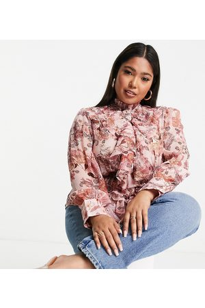 River Island Floral print ruffle front blouse in pink