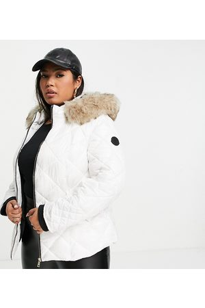 River Island Padded puffer jacket with faux fur hood in white