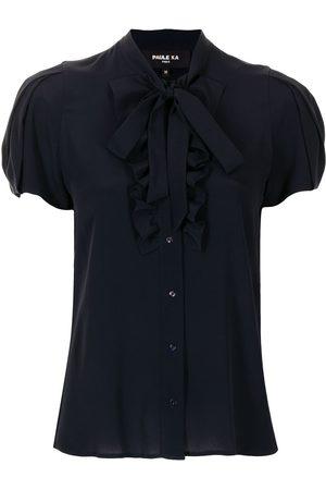 Paule Ka Women Shirts - Ruffle-trimmed satin shirt