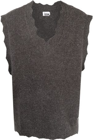 Izzue Men Gilets - Shark-tooth v-neck sweater vest