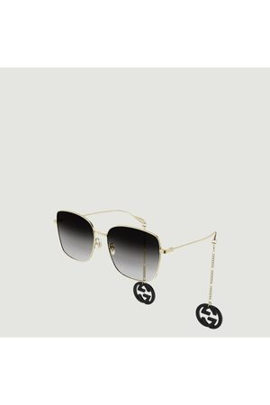 Gucci Square sunglasses with logo charms grey