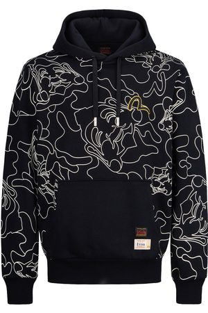 Evisu Men Sweatshirts - Allover Linear Camouflage Print Hooded Sweatshirt
