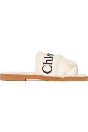 Chloé Women Sandals - Woody logo-tape flat sandals