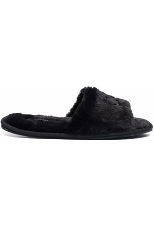Calvin Klein Women Shoes - Logo-motif faux-fur slippers