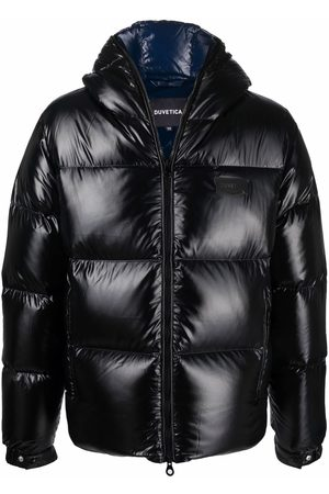 Duvetica Logo-patch glossy puffer jacket