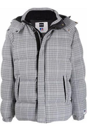 HUGO BOSS Men Winter Jackets - Check-print padded down jacket