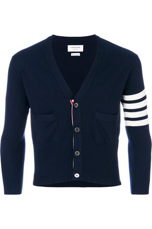 Thom Browne Short V-Neck Cardigan With 4-Bar Stripe In Navy Cashmere