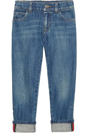 Gucci Web detail straight leg jeans