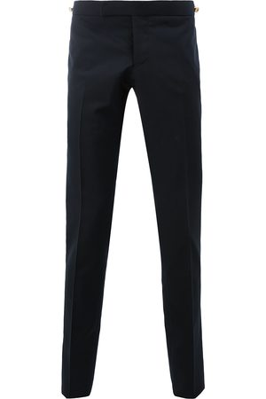 Thom Browne Men Skinny Pants - Low Rise Skinny Trouser With Red, White And Selvedge Back Leg Placement In School Uniform Plain Weave