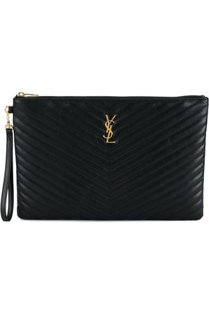 Saint Laurent Quilted Large Leather Pouch