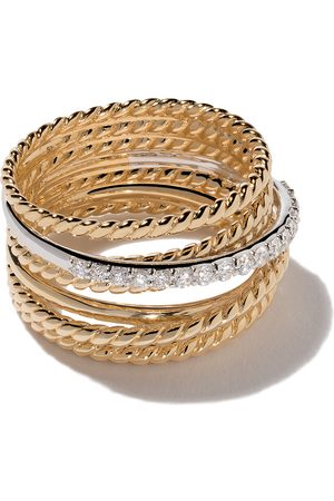David Yurman 18kt yellow gold Crossover diamond wide ring