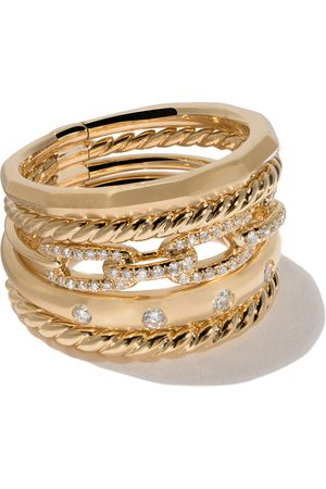 David Yurman 18kt yellow gold Stax diamond wide ring