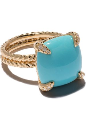 David Yurman 18kt yellow gold Châtelaine turquoise and diamond ring