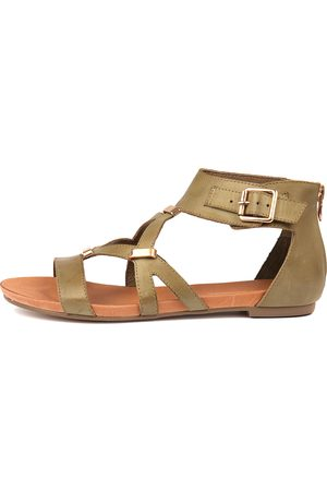 Django & Juliette Women Flat Shoes - Jadiel Khaki Sandals Womens Shoes Casual Sandals Flat Sandals