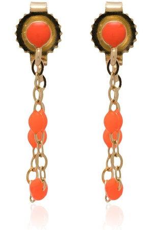 GIGI CLOZEAU 18k gold orange beaded earrings