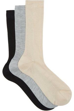 Raey Women Socks - Pack Of Three Silk Socks - Womens - Nude Multi