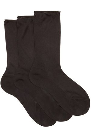Raey Pack Of Three Roll Top Silk Socks - Womens