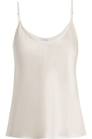 La Perla Scoop Neck Silk Satin Cami Top - Womens - Ivory