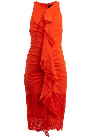 Proenza Schouler Ruffle Lace Cotton Blend Midi Dress - Womens - Coral
