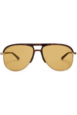 Gucci Aviator Acetate And Metal Sunglasses - Mens