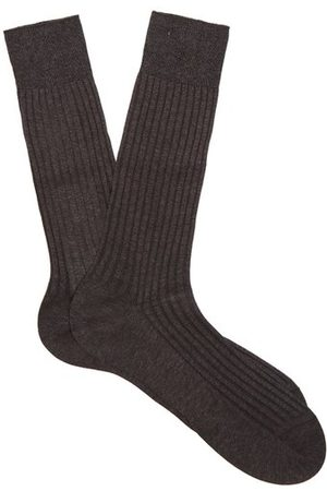 Pantherella Danvers Ribbed Knit Socks - Mens - Dark