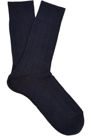 Falke Lhasa Wool And Cashmere Blend Socks - Mens - Navy