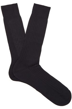 Pantherella Men Socks - Danvers Ribbed Knit Socks - Mens - Navy