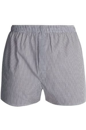 Sunspel Striped Cotton Boxer Shorts - Mens - Navy Multi