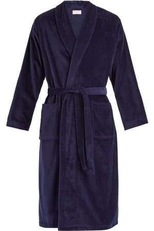 DEREK ROSE Triton Cotton Velour Bathrobe - Mens - Navy