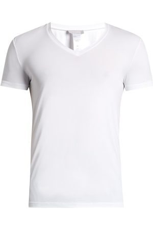 Hanro V Neck Micro Touch Jersey T Shirt - Mens
