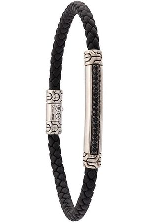 John Hardy Silver and Woven Leather Classic Chain Bracelet with Sapphire Station