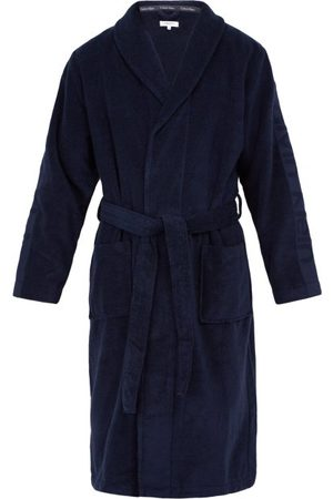Calvin Klein Logo-jacquard Cotton-terry Bathrobe - Mens - Navy