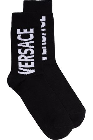 Versace White logo printed socks